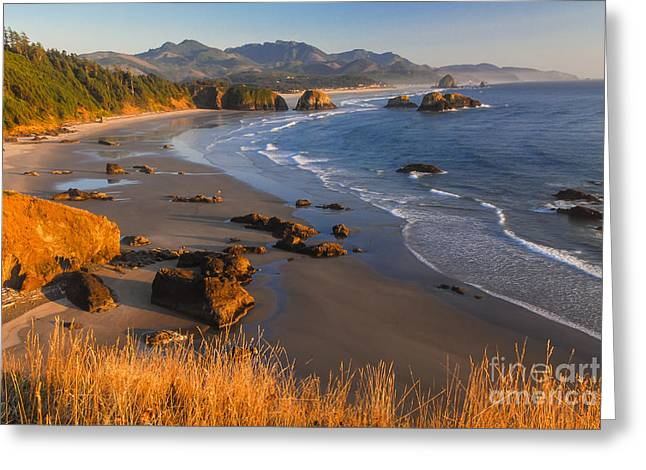 State Parks In Oregon Greeting Cards - Crescent Beach at Sunset Greeting Card by Lidija Kamansky