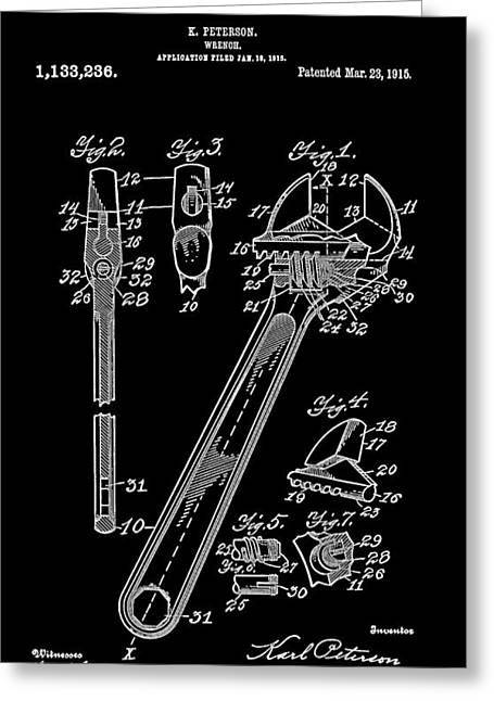 Historical Blueprint Greeting Cards - Crescent Wrench 2 Patent Art 1915 Greeting Card by Daniel Hagerman