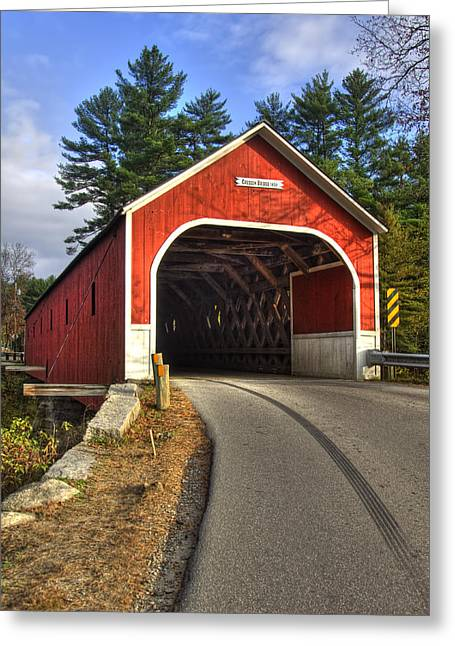 New England Autumn Scenes Greeting Cards - Cresson Covered Bridge Greeting Card by Joann Vitali