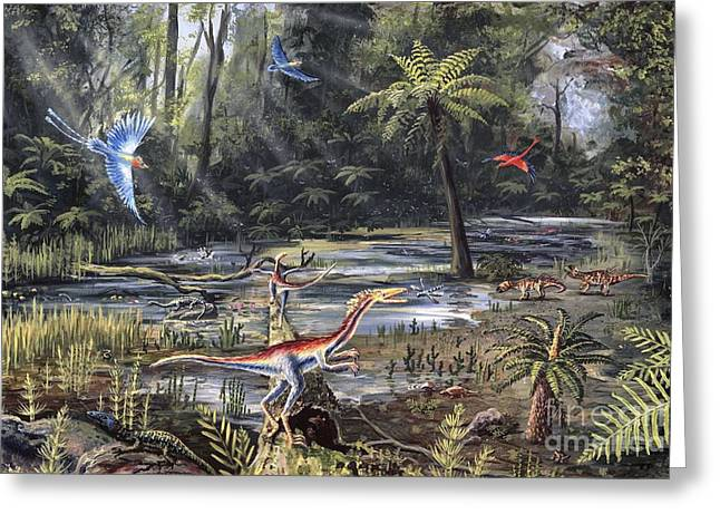 Gallic Greeting Cards - Cretaceous Life, Artwork Greeting Card by Richard Bizley