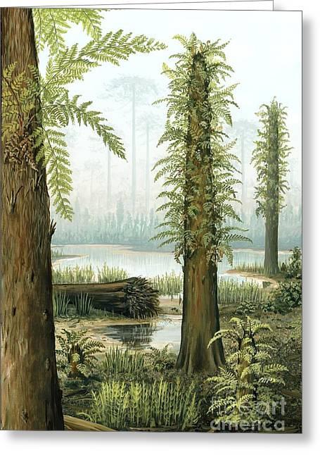 Cyatheales Greeting Cards - Cretaceous Tree Ferns, Artwork Greeting Card by Richard Bizley