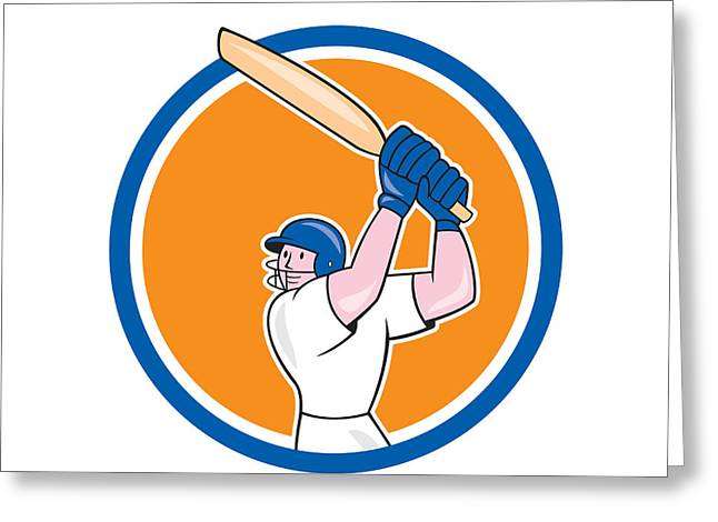 Batting Helmet Greeting Cards - Cricket Player Batsman Batting Circle Cartoon Greeting Card by Aloysius Patrimonio