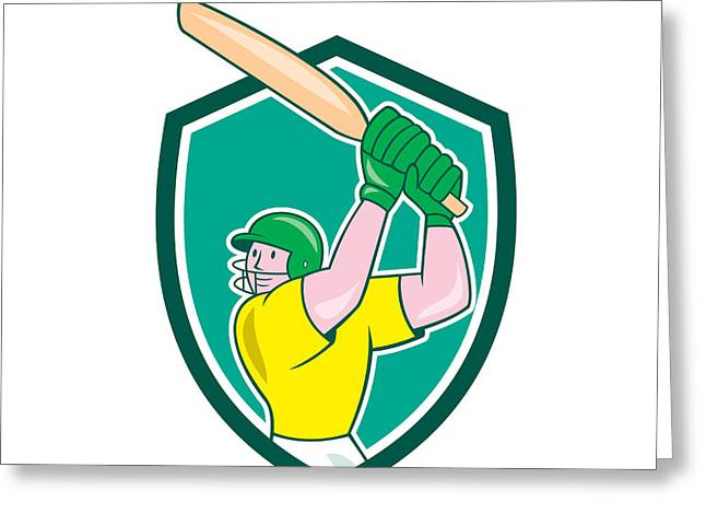 Batting Helmet Greeting Cards - Cricket Player Batsman Batting Shield Cartoon Greeting Card by Aloysius Patrimonio
