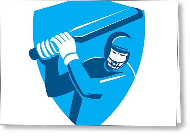 Cricket Players Greeting Cards - Cricket Player Batsman Batting Shield Retro Greeting Card by Aloysius Patrimonio