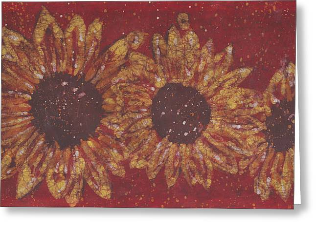 Impressionist Tapestries - Textiles Greeting Cards - Crimson Sunflowers Greeting Card by Kevin Houchin