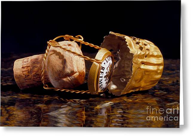 Napa Greeting Cards - Cristal Cork Granite Digital Paint Greeting Card by Jon Neidert