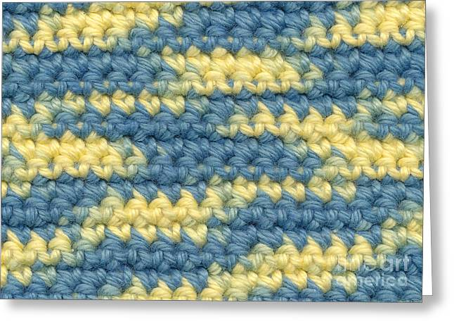 Macro Tapestries - Textiles Greeting Cards - Crochet made with variegated yarn Greeting Card by Kerstin Ivarsson