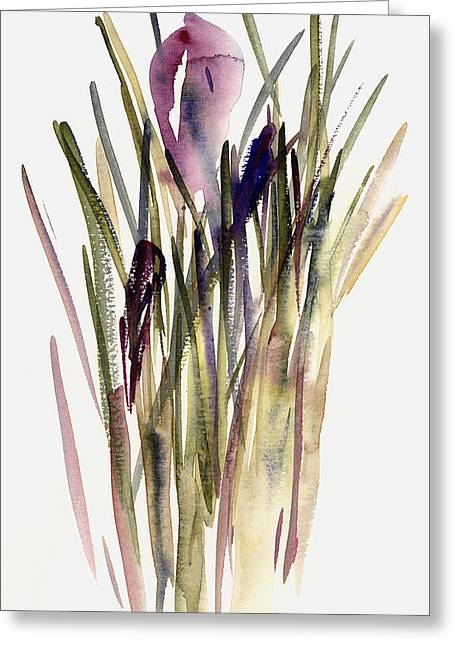 Contemporary Art Paintings Greeting Cards - Crocus Greeting Card by Claudia Hutchins-Puechavy