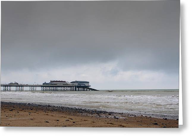 cromer pier at sunrise on english coast Greeting Card by Fizzy Image