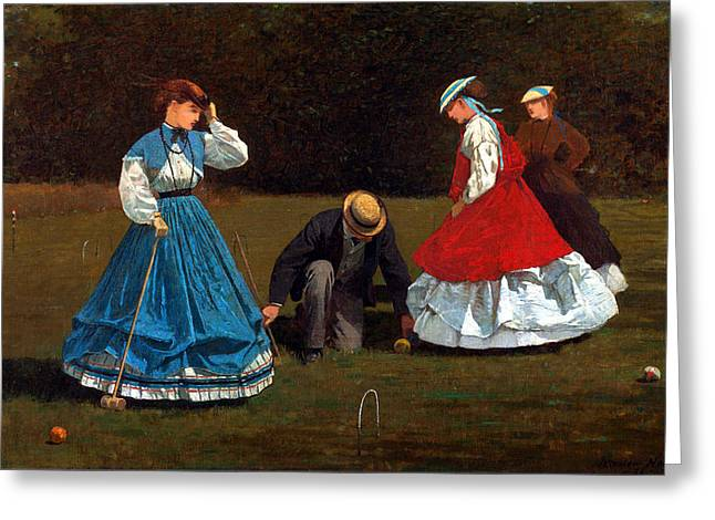 Winslow Homer Digital Art Greeting Cards - Croquet Scene Greeting Card by Winslow Homer