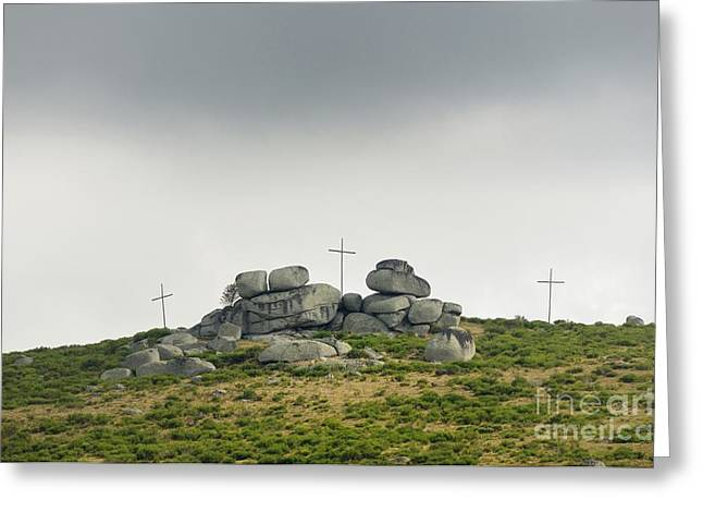 Sacred Greeting Cards - Cross Greeting Card by Bernard Jaubert