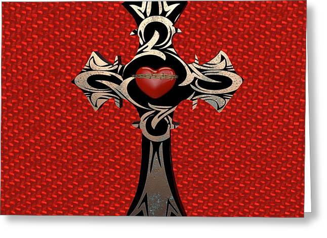 Religious Prints Greeting Cards - Cross Greeting Card by Louis Ferreira