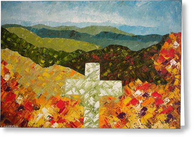 Smokey Mountains Paintings Greeting Cards - Cross Of The Colorful Ridges Greeting Card by Ralph Loffredo