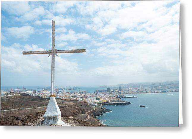 Calvary Photographs Greeting Cards - Cross with Las Palmas  Greeting Card by Chay Bewley