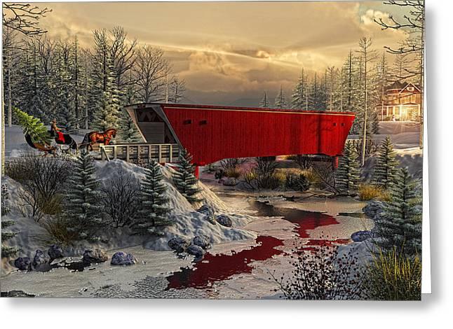 Covered Bridge Greeting Cards - Crossing Cedar Creek Greeting Card by Randy Earles