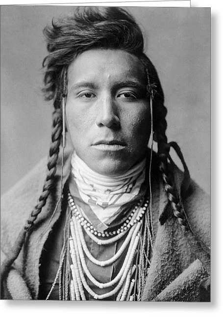 Indigenous Greeting Cards - Crow Indian Man circa 1908 Greeting Card by Aged Pixel