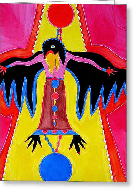 Crow Medicine Original Painting Sold Greeting Card by Sol Luckman