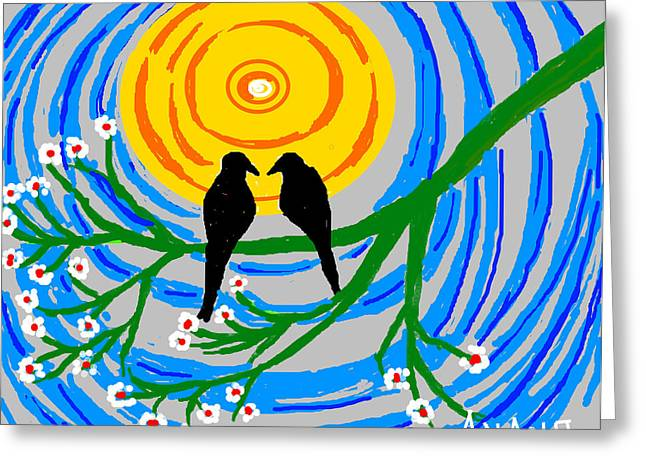 Crow. Bird Music Greeting Cards - Crows In Love Greeting Card by Anand Swaroop Manchiraju