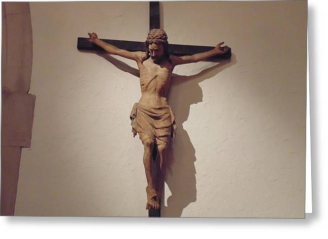 Jesus Crucifiction Framed Prints Greeting Cards - Crucifiction Sculpture Greeting Card by Dotti Hannum