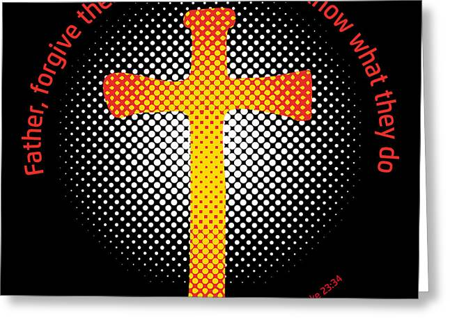Crucifix Drawings Greeting Cards - Crucifix and Gospel Greeting Card by Alain De Maximy