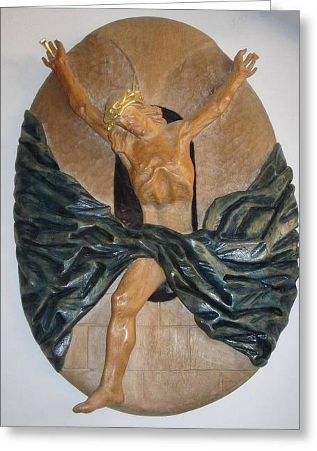 Carving Reliefs Greeting Cards - Crucifix Greeting Card by Wilfried  Senoner