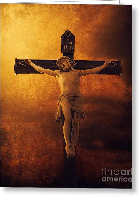 Lord Pyrography Greeting Cards - Crucifixcion Greeting Card by Jelena Jovanovic