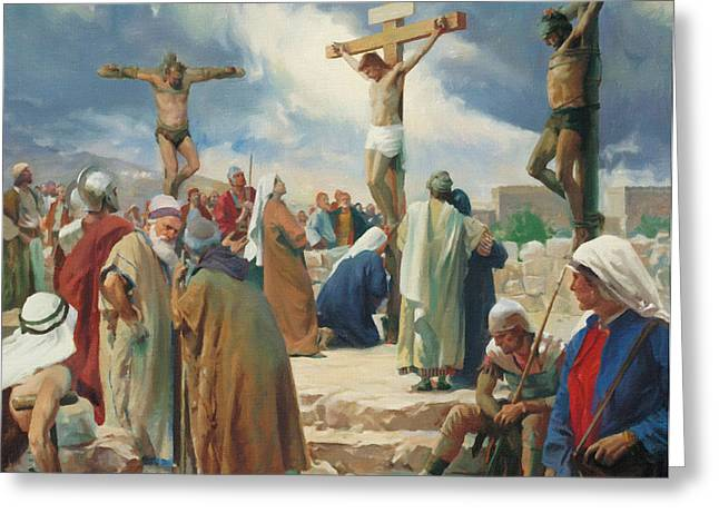 Catholic Art Greeting Cards - Crucifixion On Calvary Greeting Card by Victor Gladkiy