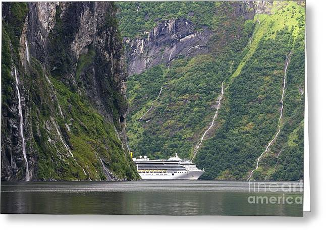 Most Visited Greeting Cards - Cruise Ship In A Fjord, Norway Greeting Card by Dr Juerg Alean