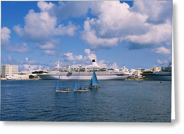Sailboat Images Greeting Cards - Cruise Ships Docked At A Harbor Greeting Card by Panoramic Images