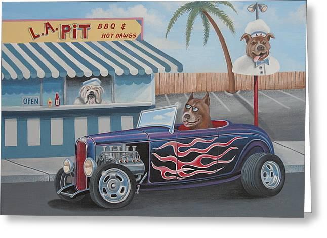 Cruizin' At Da L.a. Pit Greeting Card by Stuart Swartz
