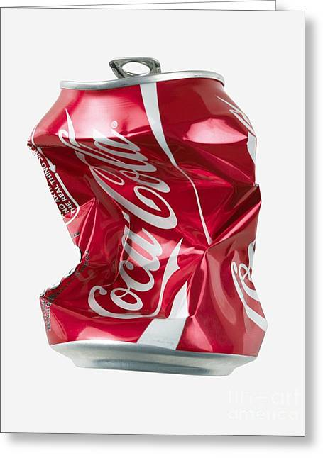Environmentally Friendly Greeting Cards - Crushed Coca Cola Can Cut-out Greeting Card by Mark Sykes