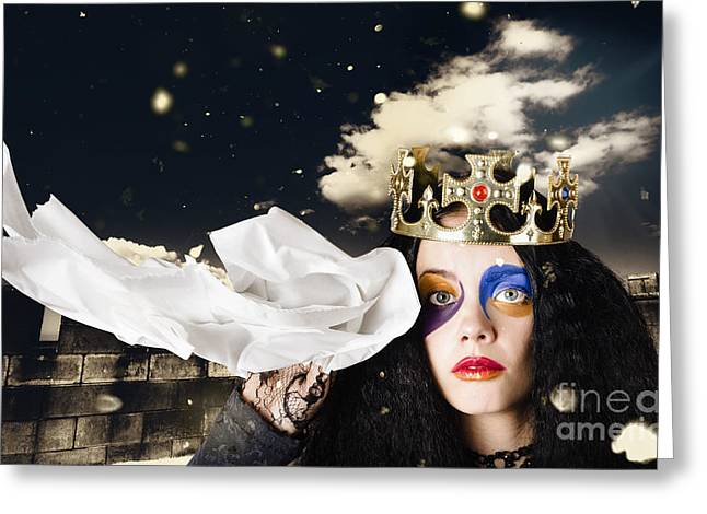 Distraught Greeting Cards - Crying fairytale queen wiping tears with tissue Greeting Card by Ryan Jorgensen