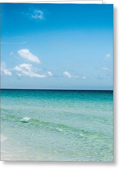 Blue Green Wave Greeting Cards - Crystal Clear Greeting Card by Shelby  Young
