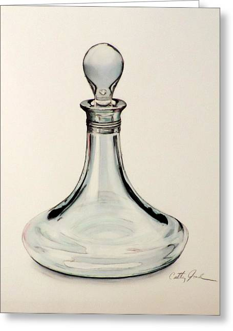 Decanters Paintings Greeting Cards - Crystal Decanter Greeting Card by Cathy Jourdan