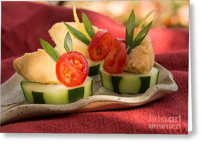 Cucumber With Hummus Greeting Card by Iris Richardson
