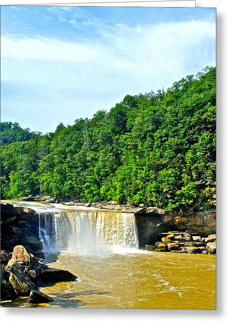 Tennessee River Greeting Cards - Cumberland Falls Greeting Card by Frozen in Time Fine Art Photography