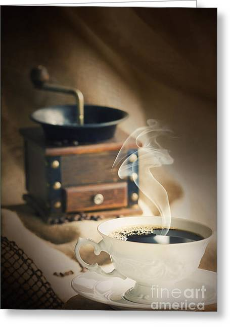 Mythja Photographs Greeting Cards - Cup of coffee Greeting Card by Mythja  Photography
