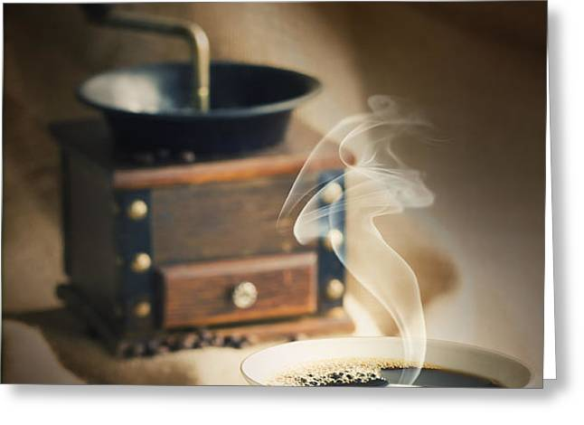 Cup of coffee Greeting Card by Mythja  Photography