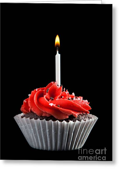 Cupcake Photography Greeting Cards - Cupcake with Candle Greeting Card by Cindy Singleton