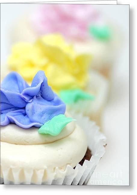 Bokeh Greeting Cards - Cupcakes Shallow Depth of Field Greeting Card by Amy Cicconi