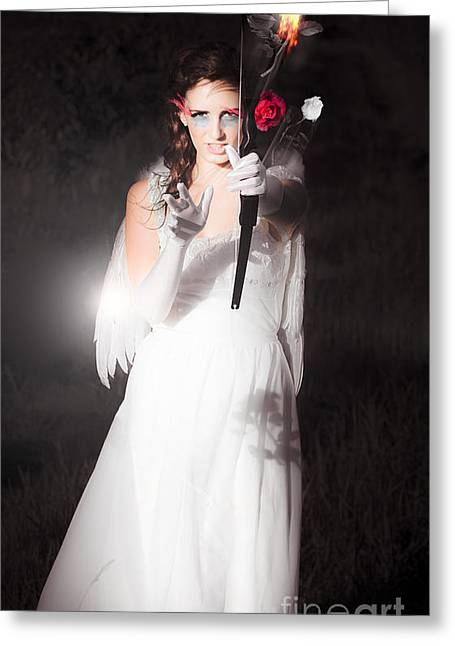 Night Angel Greeting Cards - Cupid Igniting The Spark Of Love Greeting Card by Ryan Jorgensen