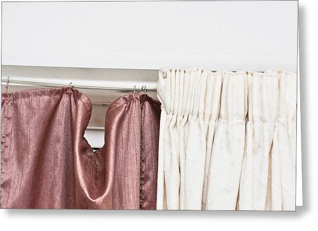 Interior Still Life Photographs Greeting Cards - Curtains Greeting Card by Tom Gowanlock