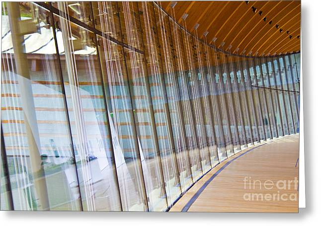 Glass Wall Greeting Cards - Curved Glass Wall pattern Greeting Card by ELITE IMAGE photography By Chad McDermott