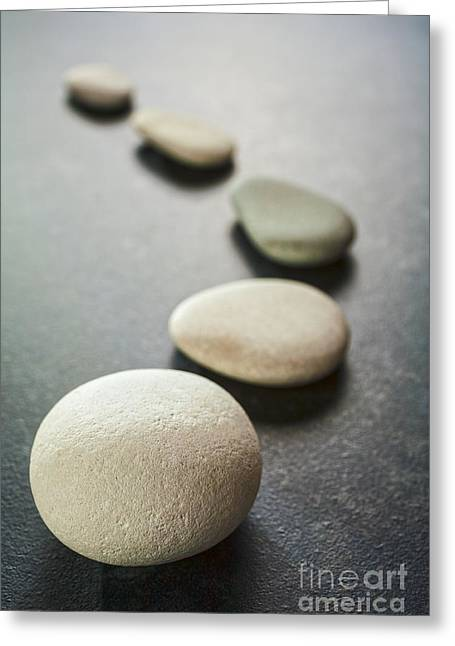 Stone Steps Greeting Cards - Curving Line of Grey Pebbles on Dark Background Greeting Card by Colin and Linda McKie