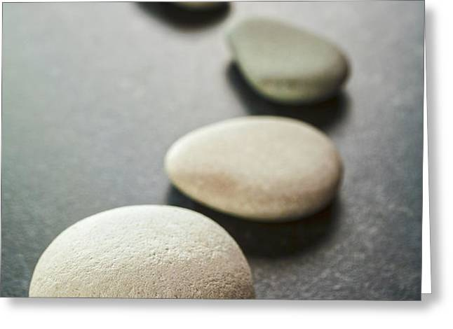 Curving Line of Grey Pebbles on Dark Background Greeting Card by Colin and Linda McKie