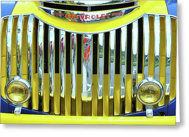 Grillwork Greeting Cards - Custom Chevy Truck   Greeting Card by Allen Beatty