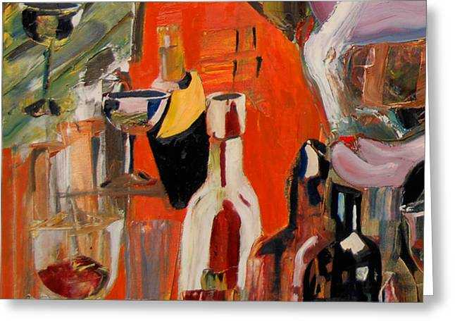 Wine Scene Greeting Cards - Cut III - Mind That Hot Tea Greeting Card by James Lavott