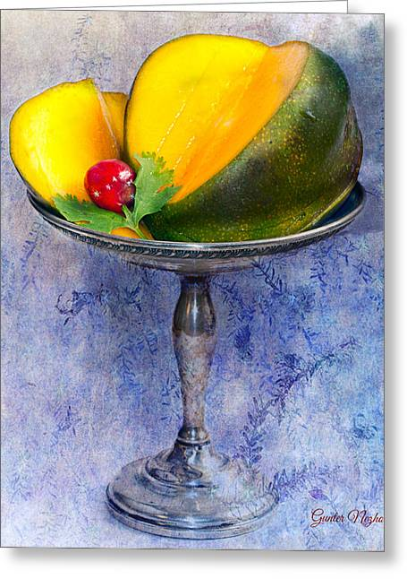 Silber Greeting Cards - Cut mango on sterling silver dish Greeting Card by Gunter Nezhoda