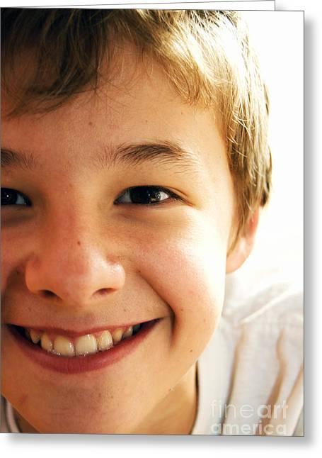 Nice Teeth Greeting Cards - Cute boy Greeting Card by Michal Bednarek