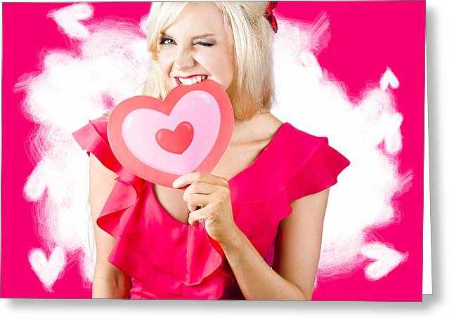 Vamp Greeting Cards - Cute love hungry girl eating big red heart Greeting Card by Ryan Jorgensen